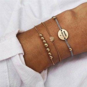 3Pc/Set I Love Mama Engraved Beads Bangle Bracelet